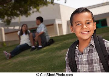 jongen, school, jonge, spaans, gereed, vrolijke