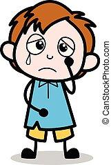 jongen, school, karakter, -, illustratie, verdrietige , vector, spotprent