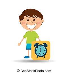 jongen, school, klok, ontwerp, spotprent, pictogram