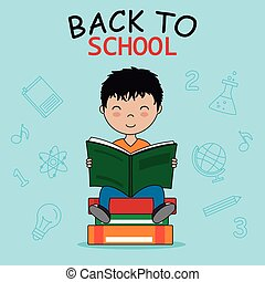 jongen, school, lezende , card., back