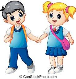jongen, school, samen, gaan, meisje, spotprent