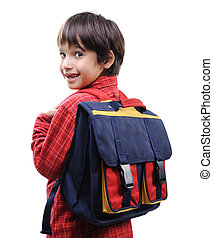 jongen, school, schooltas