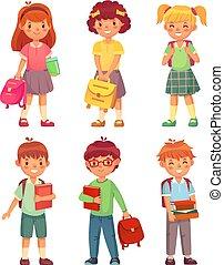 jongen, school, set, leerlingen, books., schooltas, kinderen, primair, uniform, vector, pupil, scholen, meisje, spotprent, kids., vrolijke