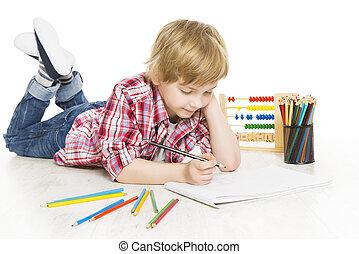 jongen, school, som, schrijvende , notebook., oefening, schooljongen