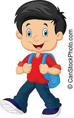 jongen, school, spotprent, wandelende