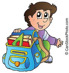 jongen, school, spotprent, zak
