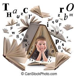 jongen, schoolboek, brieven, lezende