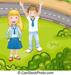 jongen, schoolmeisjes, uniform