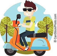 jongen, scooter, paardrijden