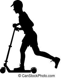 jongen, scooter