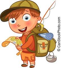 jongen, scouts., karakter, spotprent, gekke