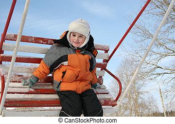 jongen, seesaw, winter