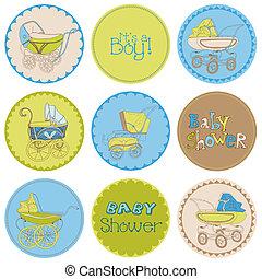 jongen, set, -, douche, vector, ontwerp, feestje, baby, plakboek, jouw