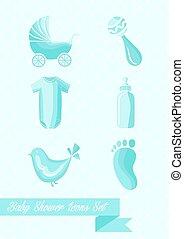 jongen, set, iconen, douche, ontwerp, baby