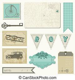 jongen, set, ouderwetse , -, communie, ontwerp, plakboek