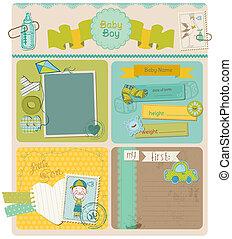 jongen, set, schattig, -, vector, ontwerp, baby, plakboek, ...