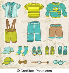 jongen, set, -, vector, ontwerp, baby, plakboek