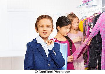 jongen, shoppen , meiden, twee, een, zak, winkel