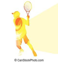 jongen, silhouette, man, tennis, achtergrond, kleurrijke, ...