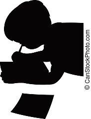 jongen, silhouette, studerend
