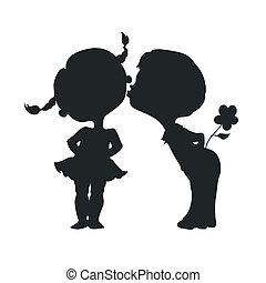 jongen, silhouettes, meisje, kussende