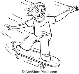jongen, skateboard, spotprent, illustratie, paardrijden