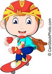 jongen, skateboard, spotprent, vrolijke