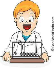 jongen, slinger, illustratie, geitje