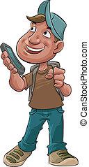 jongen, smart, telefoon