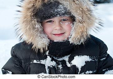 jongen, sneeuw, haar, gezicht