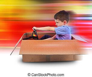 jongen, snelheid, geleider, in doos, auto
