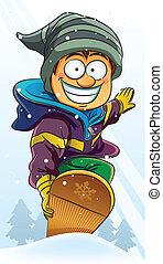 jongen, snowboard, spelend