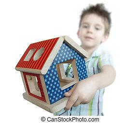 jongen, speelbal, kleurrijke, woning, hout, het voorstellen
