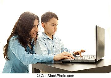 jongen, spel, computer, spelend