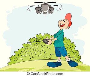 jongen, spelend, helikopter