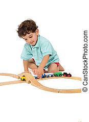 jongen, spelend, met, trein
