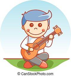 jongen, spelende guitar, spotprent, illustra