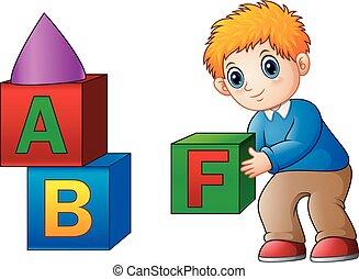 jongen, spotprent, blokje, spelend, alfabet