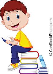 jongen, spotprent, boek, lezende