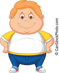 jongen, spotprent, dik, het poseren