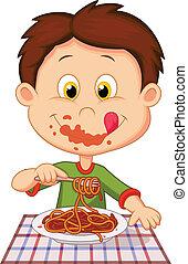 jongen, spotprent, eten, spaghetti
