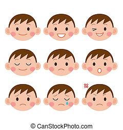 jongen, spotprent, expressions., gekke