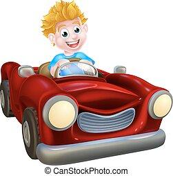 jongen, spotprent, geleider, auto