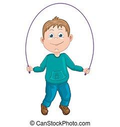 jongen, spotprent, illustratie
