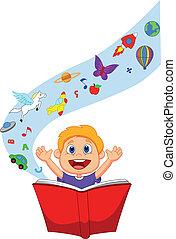 jongen, spotprent, lezende , een, fantasie, boek