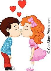 jongen, spotprent, meisje, kussende