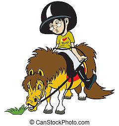 jongen, spotprent, paardrijden, pony