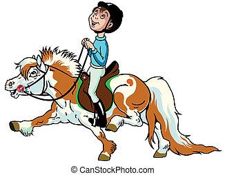 jongen, spotprent, pony