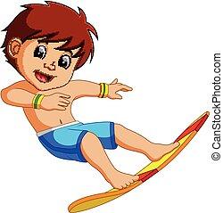 jongen, spotprent, surfer