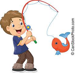 jongen, spotprent, visserij